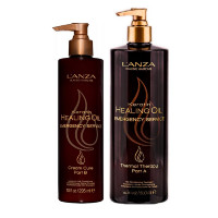 Набор для восстановления волос Lanza Keratin Healing Oil Emergency Service Backbar Kit (term,ther,500 мл + hair,cr,300 мл)
