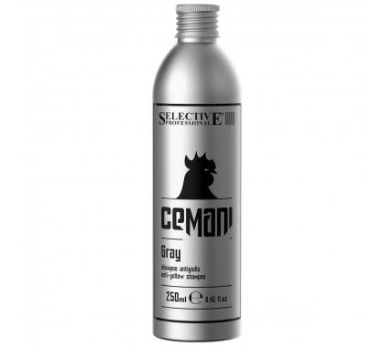 Камуфлювальний антижовтий шампунь для сивого волосся Selective Professional Cemani Gray Shampoo, 250 мл