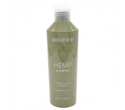 Увлажняющий шампунь с маслом семян конопли для сухих и поврежденных волос Selective Professional Hemp Sublime Ultimate Luxury Shampoo, 250 мл., 1000 мл