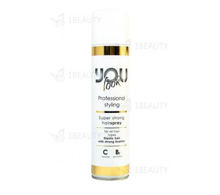Лак-спрей суперсильной фиксации с керамидами, провитамином В5 и протеинами шелка You Look Professional Super Strong Hairspray 400 мл.