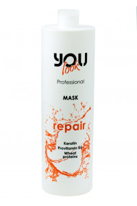 Маска для сухих и поврежденных волос You Look Professional Repair Keratin And Wheat Proteins Mask 1000 мл.